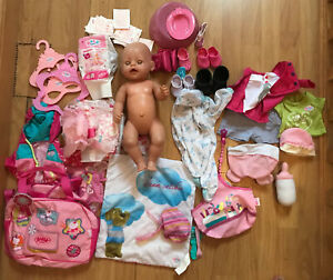 baby born doll And clothes bundle Nappies Food Shoes Job Lot
