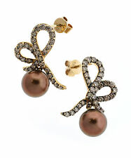 LeVian Encore Pearl and Chocolate Diamond Earrings $4995 retail
