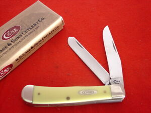 "Case XX USA 3254 SS Yellow Delrin Blade 1996 4 Dot 4.25"" Trapper Knife MIB"
