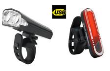 Due Anteriore Bianco LED E POSTER 7 KIT LUCE ROSSA-USB ricaricabile BICICLETTA Luci Set UK