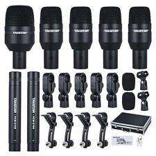 Professional Drum Set Wired Microphone 7 Piece Mic Kit 5 Drum 2 Condenser Mics