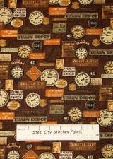 Benartex Locomotion Train Depot Signs Toss Station Clock  Cotton Fabric~ 1.14Yds