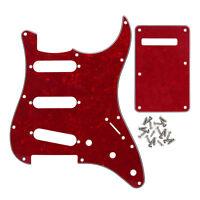 NEW FD Strat SSS Guitar Pickguard 11 Holes & Back Plate 4Ply Red Pearl & Screws