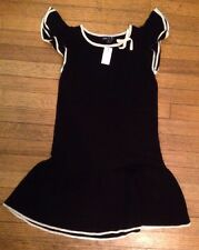 NWT Gap Kids Black White Sweater Low Waist Dress Ruffle Sleeve XL 12