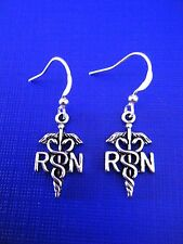 FREE GIFT **  ANTIQUED SILVER EARRINGS RN (Registered Nurse)