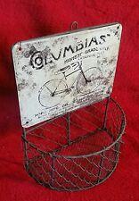 """METAL """"COLUMBIAS"""" BICYCLE BIKE BASKET POPE MFG. CO. BOSTON CHICAGO WABASH"""