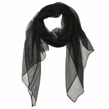 Wrapables Solid Color 100% Silk Long Scarf, Black