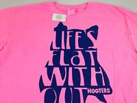 Life's Flat Without Hooters T-Shirt Pink Hot Girls Owl Funny Mens XL/2XL Beer