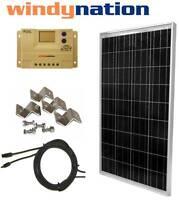 100 W Watt 100W  PV Solar Panel Kit 12V w/ LCD Controller RV, Boat, Off Grid