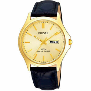 ✅NEXT DAY DELIVERY✅ Gold Plated Mens Watch Champagne Dial Classic Leather Strap