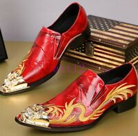 Wedding Men's Slip On Prom Leather Loafers Embroidery Dragon Casual Dress Shoes