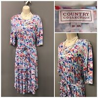 Country Collection Blue Mix Pleated Retro Dress UK 20 EUR 48
