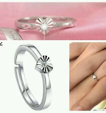 UK 925 stamped Silver zircon HEART OPEN Ring LADY MEN ANNIVERSARY BIRTHDAY GIFT