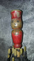 Ancienne Ombrelle de poupée H: 48 cm- pommeau à tête d'avocat/juge -avec défauts