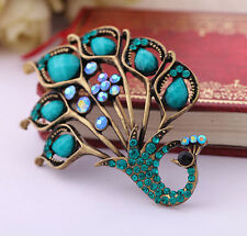 Lucky Hot Fashion Peacock Shape Rhinestone Crystal Wedding Bridal Brooch Pins
