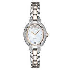 Seiko Women's Watch Tressia Solar Diamond MOP Dial Two Tone Bracelet SUP327