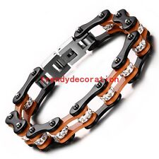 Shiny Rhinestones Stainless Steel Orange Black Bicycle Chain Bracelet Mens 7.87""