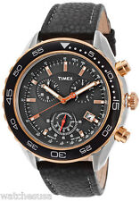 Timex T2N591 Black Dial Leather Strap Chronograph Men's Watch