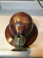 Vintage fiber mining hard hat with brass gas light, from Black Hills area