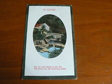 Vintage 1913 Greeting Postcard, Ivy Cottage, Bridge, River