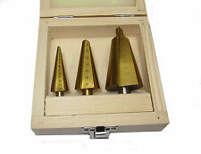 RDGTOOLS 3 PC CONICAL DRILL SET HSS OPENING HOLES IN SHEET METAL RANGE 2 - 30MM