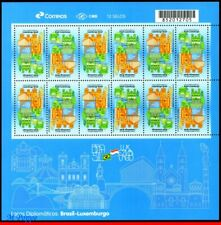 18-12 BRAZIL 2018 DIPLOMATIC TIES WITH LUXEMBOURG, MONUMENTS, FLAGS, SHEET MNH