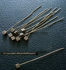 Designer Head Pins Bronze plated cube base 10 pcs 2 inch 50mm long fhg025
