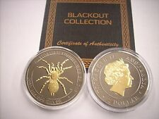 2015 1 OZ SILVER PERTH MINT FUNNEL WEB SPIDER BLACKOUT COLLECTION RUTHENIUM-24KT