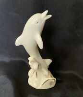 "Vintage Lenox Porcelain Dolphin Figurine 4"" Cream Porcelain With Gold Accents"