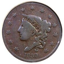 1839/6 N-1 R-3 Matron or Coronet Head Large Cent Coin 1c