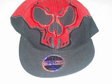Black & Red Scull Face Front Hat Ball Cap Size Large 7 - 1/2 Top Gear NWT