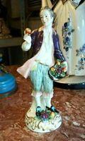 Antique German Saxon Porcelain Figurine, Man with Apple.