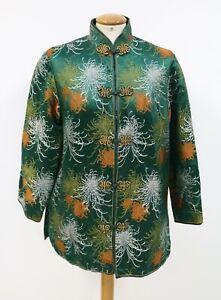 Traditional Dress Oriental Floral Unique Unisex Mandarin Collar Jacket M