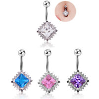 Surgical Steel Crystal Navel Rings Belly Button Ring Bar Piercing Jewelry Bea ME