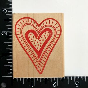 Rubber Stampede Outline Heart A2009E Wood Mounted Rubber Stamp