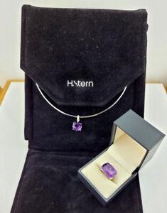 Designer 18K White Gold H. Stern Amethyst Diamond Sapphire Ring & Necklace Set