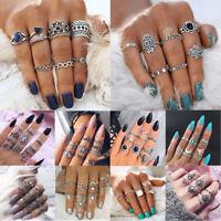 10pcs Bohemian Vintage Women Silver Elephant Moon Turquoise Finger Mid Rings Set