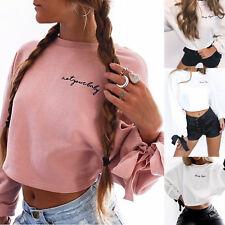UK Women Long Sleeve Letter Sweater Pullover Crop Tops Hoodies Sweatshirt Jumper