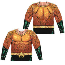 Aquaman Rebirth Uniform Costume Adult Men's Long Sleeve Tee Shirt Sm-3Xl