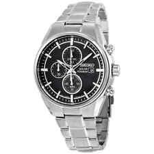 Seiko Solar Chronograph Black Dial Titanium Men's Watch SSC367