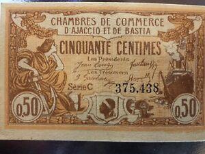 Billet Ancien Commerce AJACCIO BASTIA 1920 & 50 centimes & Necessité & Série C