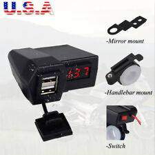 Dual USB Charger LED Voltmeter For Honda Gold Wing Valkyrie Rune GL 1500 1800 US