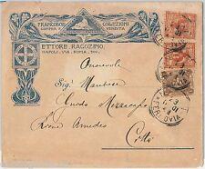 REGNO - STORIA POSTALE : Sass 65 + 69*2  su  BUSTA PUBBLICITARIA di ROMA 1901