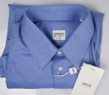$225 NWT Armani Collezioni Mens Dress Shirt Blue/White Weave Striped Size 15/33