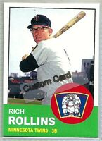 RICH ROLLINS MINNESOTA TWINS 1963 STYLE CUSTOM MADE BASEBALL CARD BLANK BACK