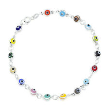 "Multi-Colored Evil Eye Beads on 925 Sterling Silver Bracelet 7.5"""