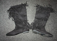 TRENDY Black Fringe Faux-Suede Boots Sz 8 - Worn Once