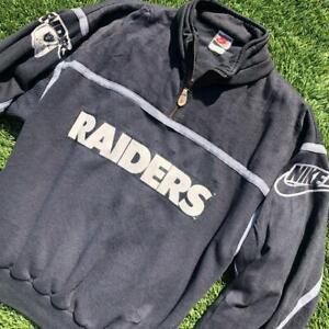 VTG 80s/90s Nike Gray Tag Los Angeles Oakland Raiders 1/4 Zip NFL Sweat Shirt L