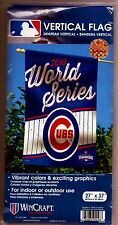 """2016 WORLD SERIES Chicago Cubs CHAMPIONS Vertical Flag w/pinstripes 27"""" x 37"""""""