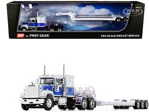 MACK SUPER-LINER TALBERT LOWBOY TRAILER WHITE & BLUE 1/64 DCP/FIRST GEAR 60-0976